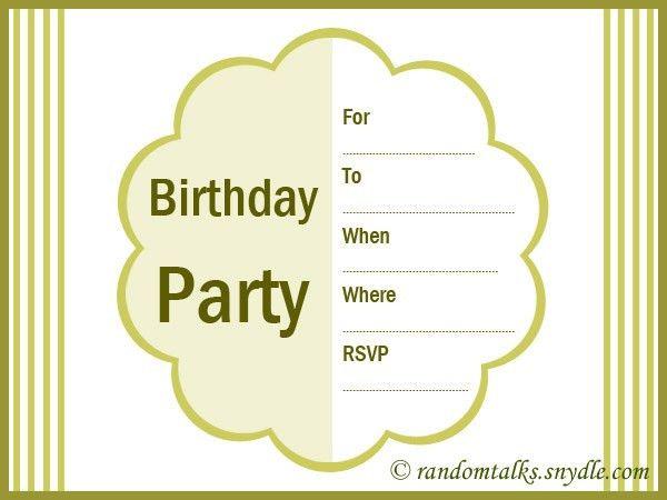 Printable Invitation Cards For Birthday Party - vertabox.Com