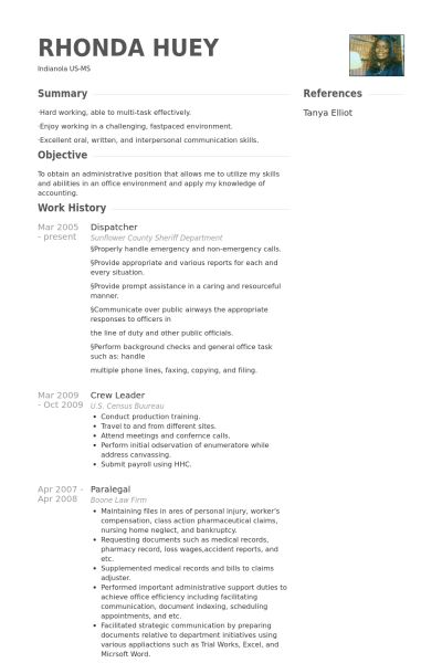 Dispatcher Resume samples - VisualCV resume samples database