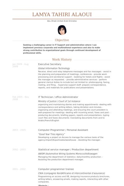 Executive Secretary Resume samples - VisualCV resume samples database