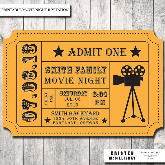 Movie Night Party Invitation- DIY- Digital File- Printable ...