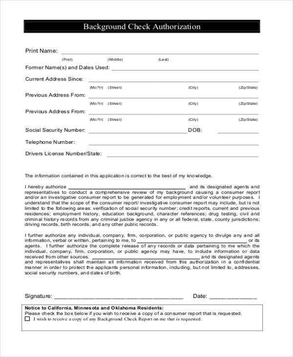 Authorization Form Templates