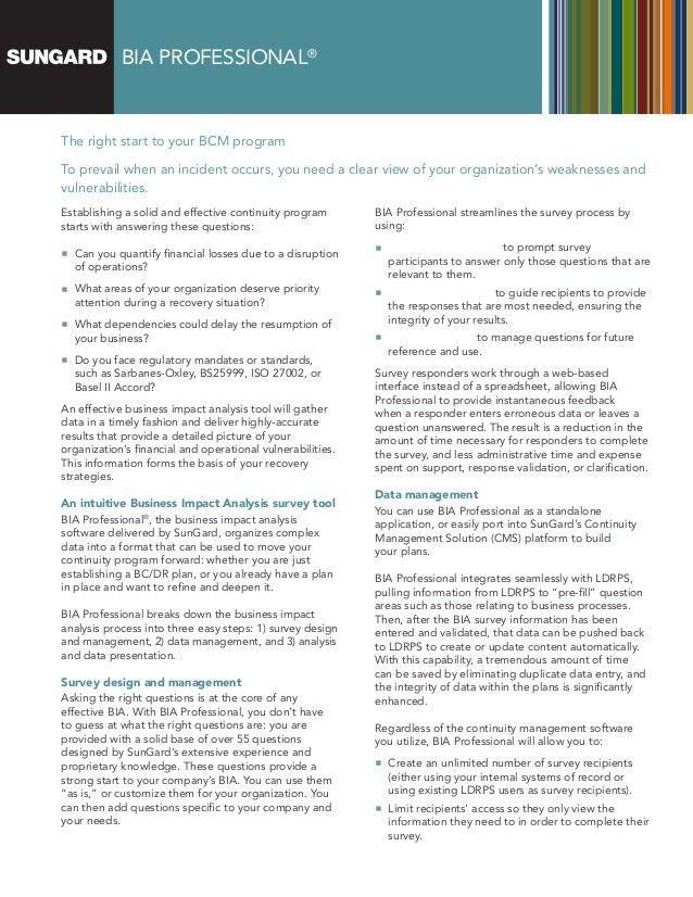 SunGard BIA Professional - Business Impact Analysis Tool