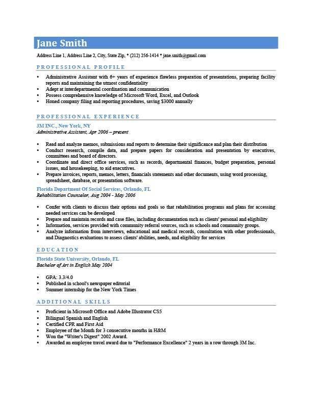 Professional Profile Resume Templates | Resume Genius