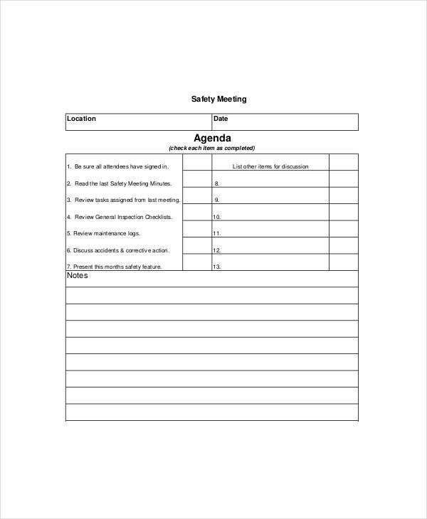 Safety Meeting Agenda Template – 8+ Free Word, PDF Documents ...
