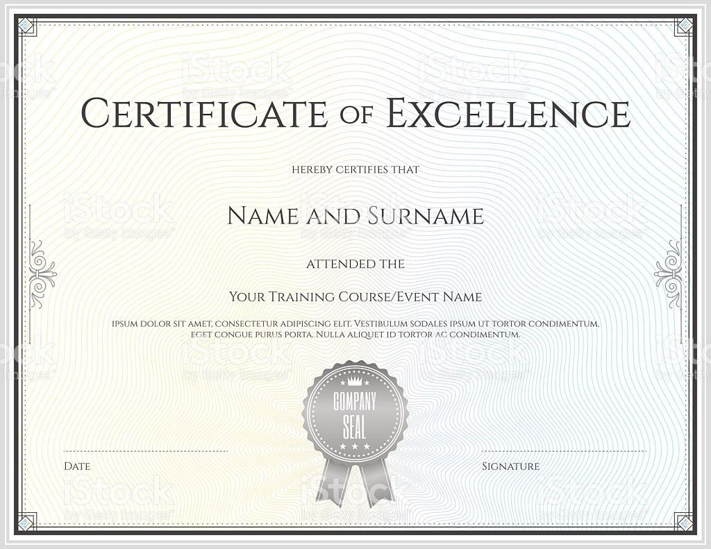 Certificate Of Excellence Template In Vector stock vector art ...