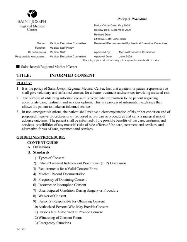 Medical Consent Form Example. Emergency Medical Authorization Form ...