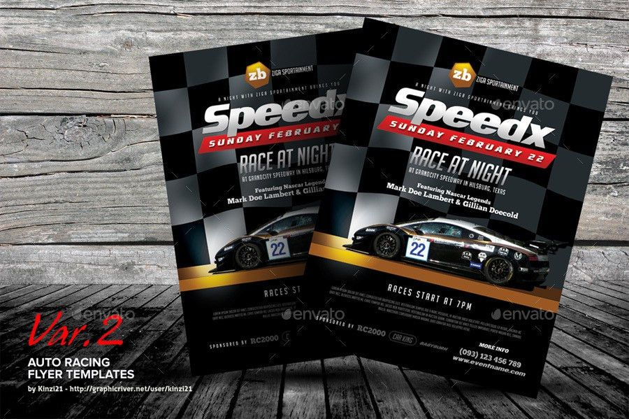 Auto Racing Flyer Templates by kinzi21 | GraphicRiver