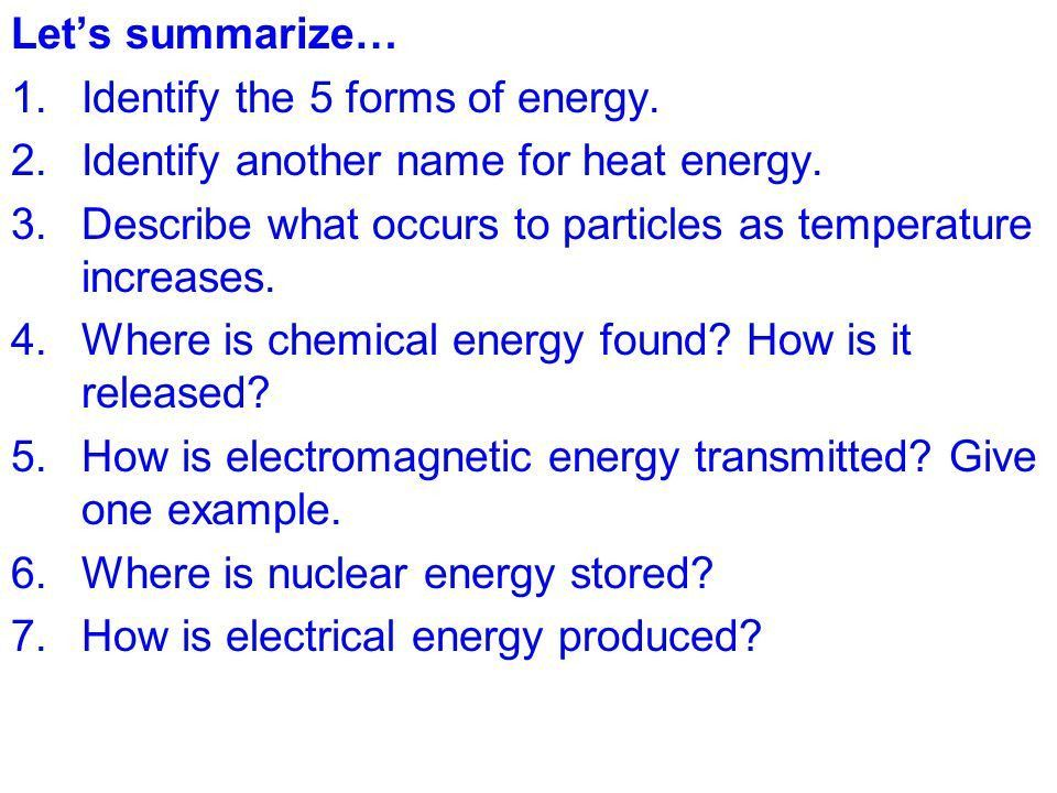TOPIC: Energy AIM: Describe the five forms of energy. - ppt video ...