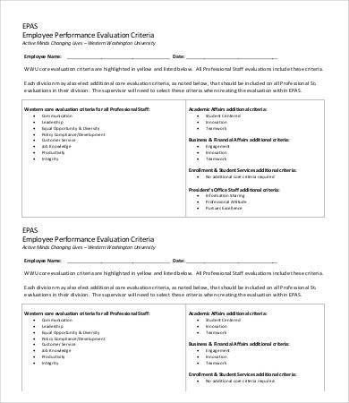Employee Evaluation Template - 9+ Free Word, PDF Documents ...