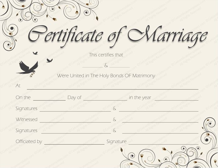Spring blossoms Marriage Certificate Template - Get Certificate ...