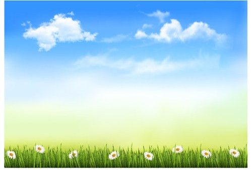 Blue sky and white clouds in spring design vector – Over millions ...