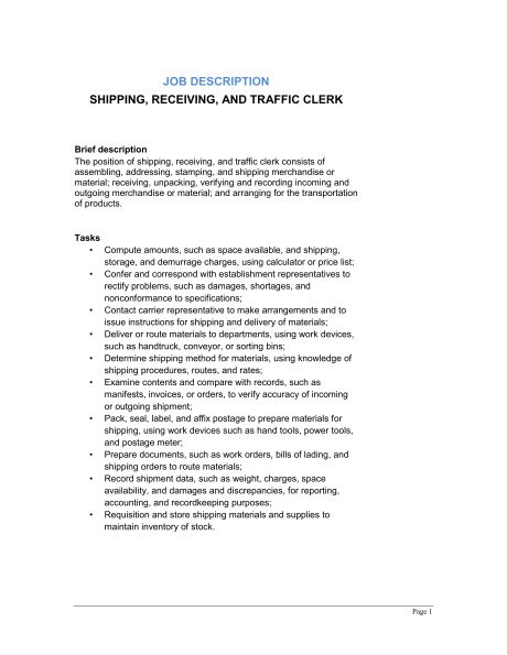 Shipping, Receiving and Traffic Clerk Job Description - Template ...