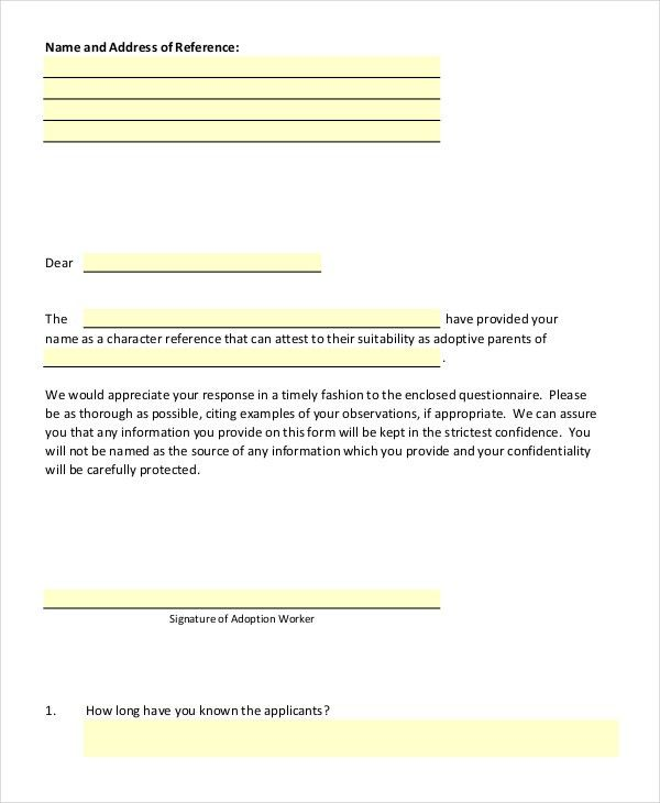 5+ Adoption Reference Letter Templates - Free Sample, Example ...