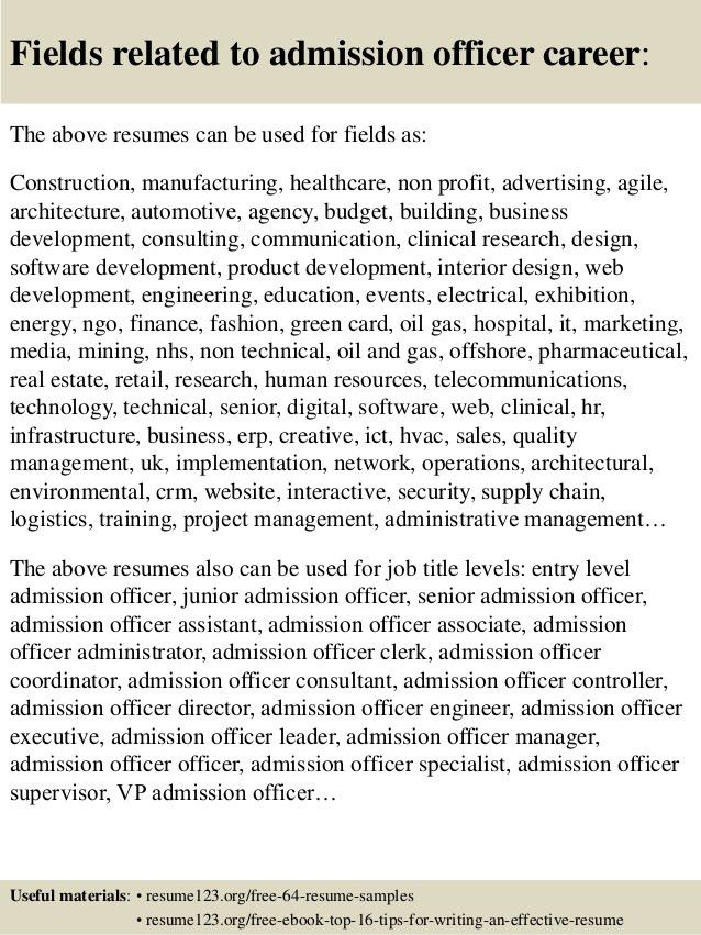 Top 8 admission officer resume samples