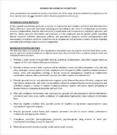 sample human resource assistant job description. hr assistant cv 2 ...