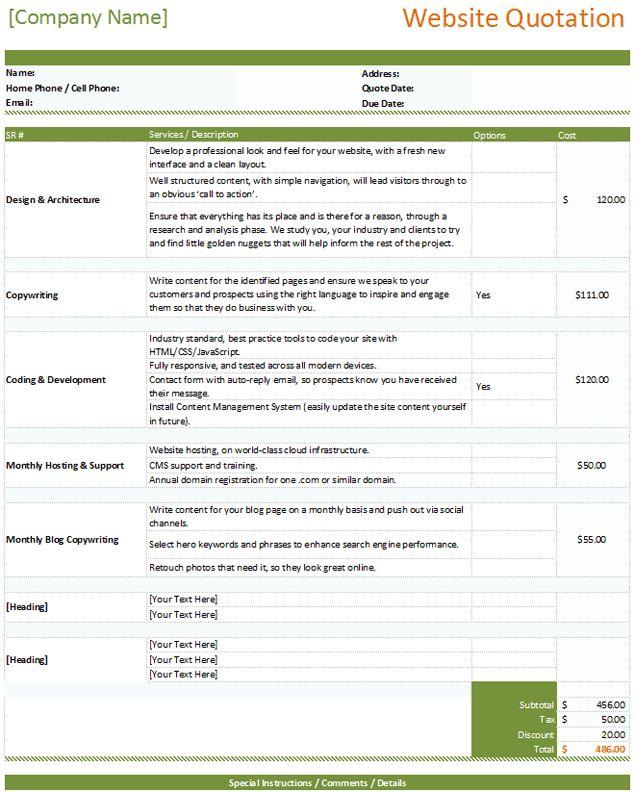 6+ Website Development Quotation Template {Word-PDF} | ExcelBuz