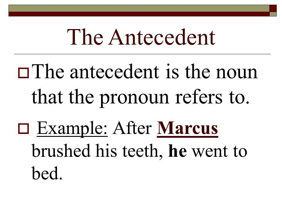 Pronouns and Antecedents. The Antecedent  The antecedent is the ...