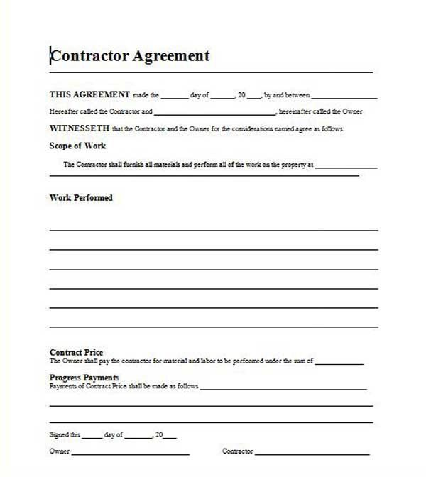 Renovation Contract Template. Printable Construction Contract ...