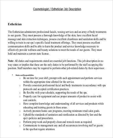 Sample Esthetician Job Description - 8+ Examples in Word, PDF