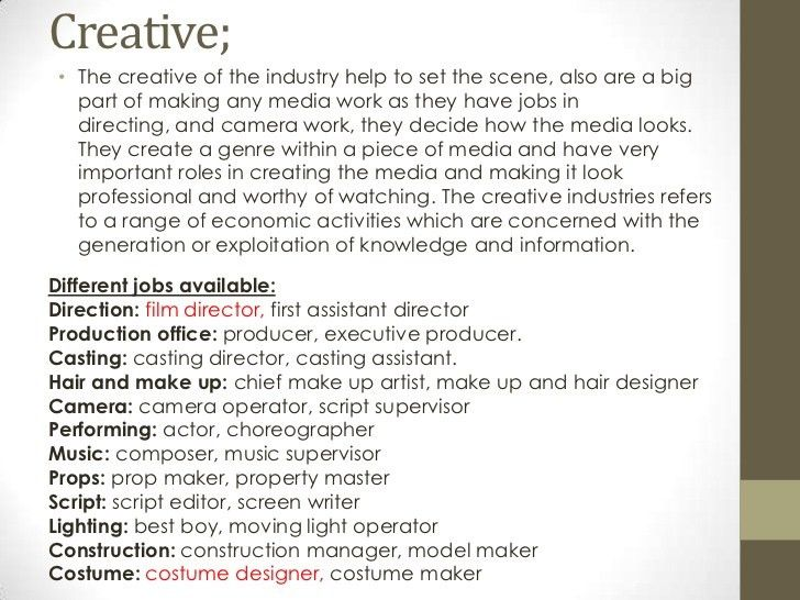 Job Roles in the Tv and Film Industry