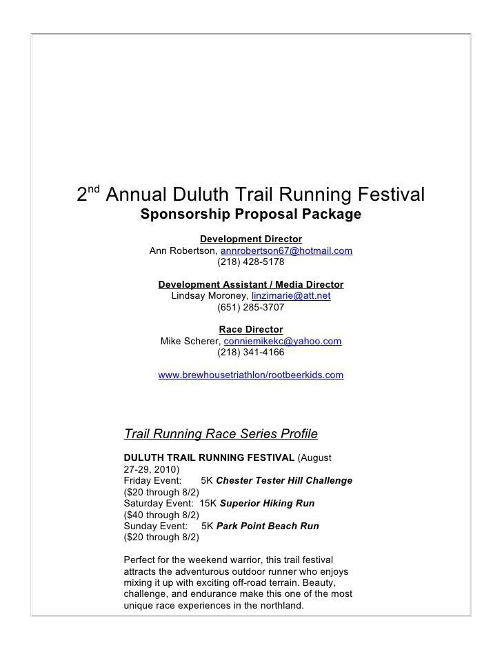 Duluth Trail Fest Sponsorship Proposal