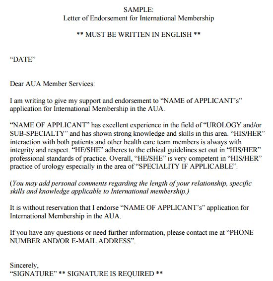 11+ Sample Endorsement Letters - Sample Letters Word