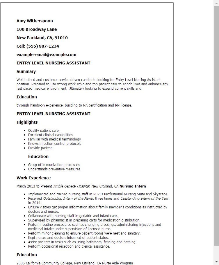 Super Idea Entry Level Nursing Resume 9 Entry Registered Nurse ...