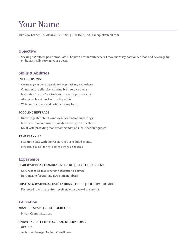 example of server resume unforgettable server resume examples to