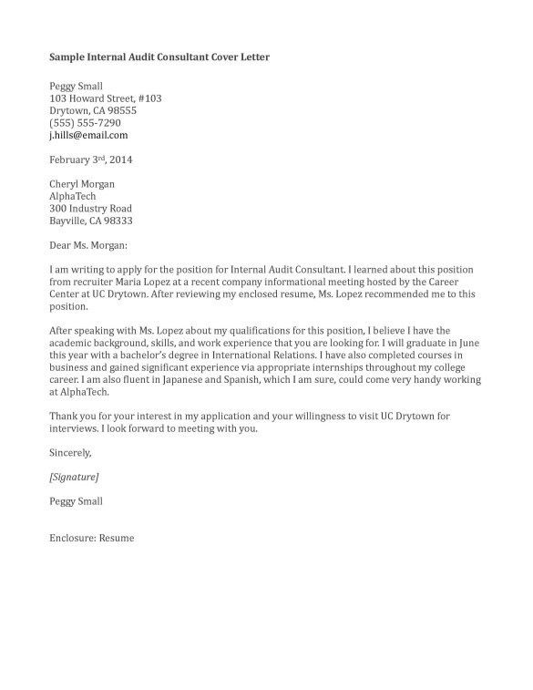 Job Winning Cover Letter Sample for Internal Audit Consultant Job ...