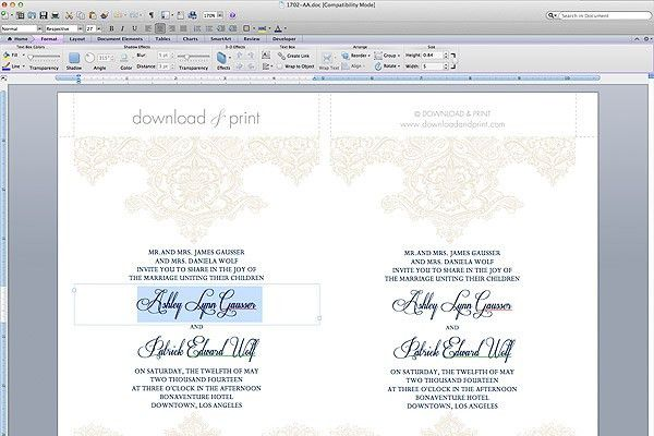 Download Free Wedding Invitation Templates For Word | wblqual.com