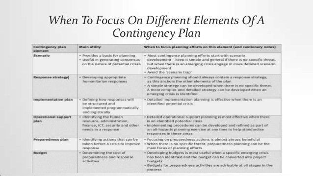 Contingency Action Plan   (Disaster Management)