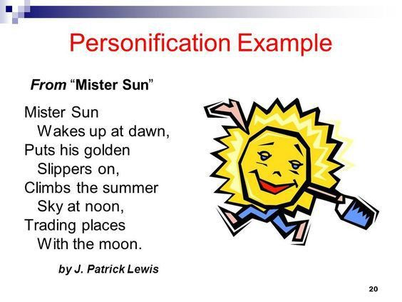 PERSONIFICATION example from Mr. Sun | English syllabus resources ...