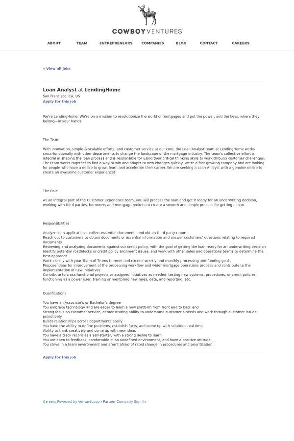 Loan Analyst job at LendingHome in San Francisco, CA   Tapwage Job ...