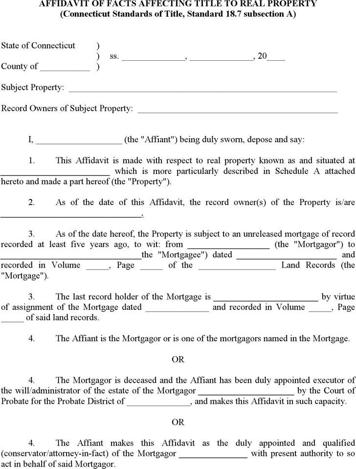 Free Connecticut Affidavit of Facts Affecting Title to Real ...