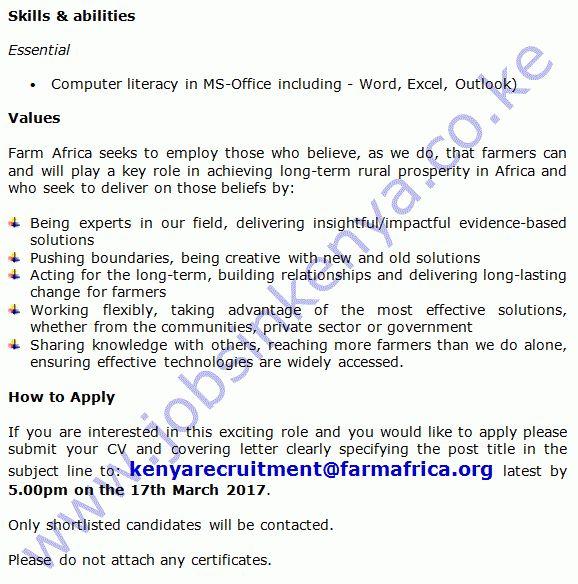 Farm Africa Project Accountant / Administrator Vacancy in Kisumu ...