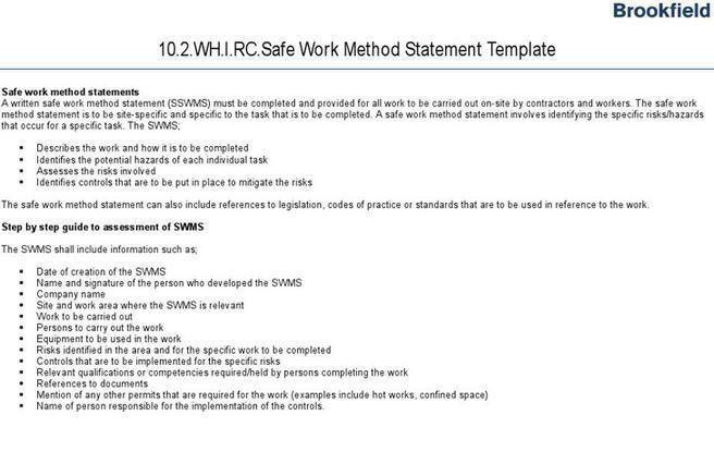 Method Statement | Download Free & Premium Templates, Forms ...