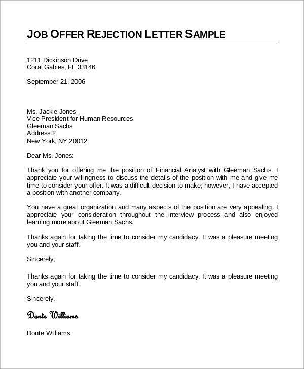 Job Offer Rejection Thank You Letter Sample - Mediafoxstudio.com