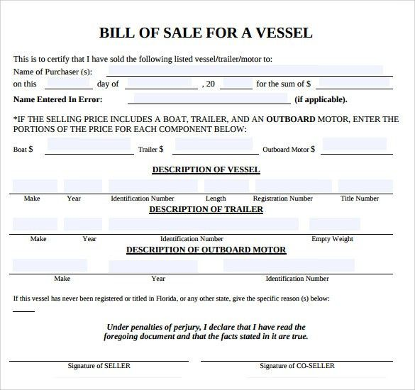 Elegant Boat Bill Of Sale Template Samples : Vlcpeque