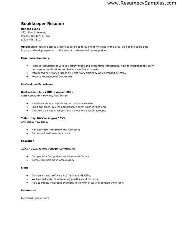 sample bookkeeper resume cover letter cover letter fascinating ...