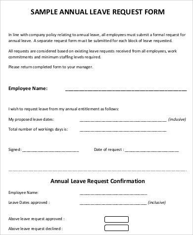 Leave Request Form. Employee Leave Request 16+ Leave Request Form ...
