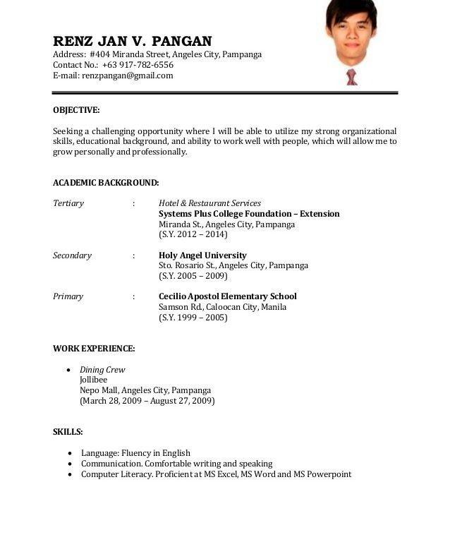 of a resume for applying a job - jianbochen.com