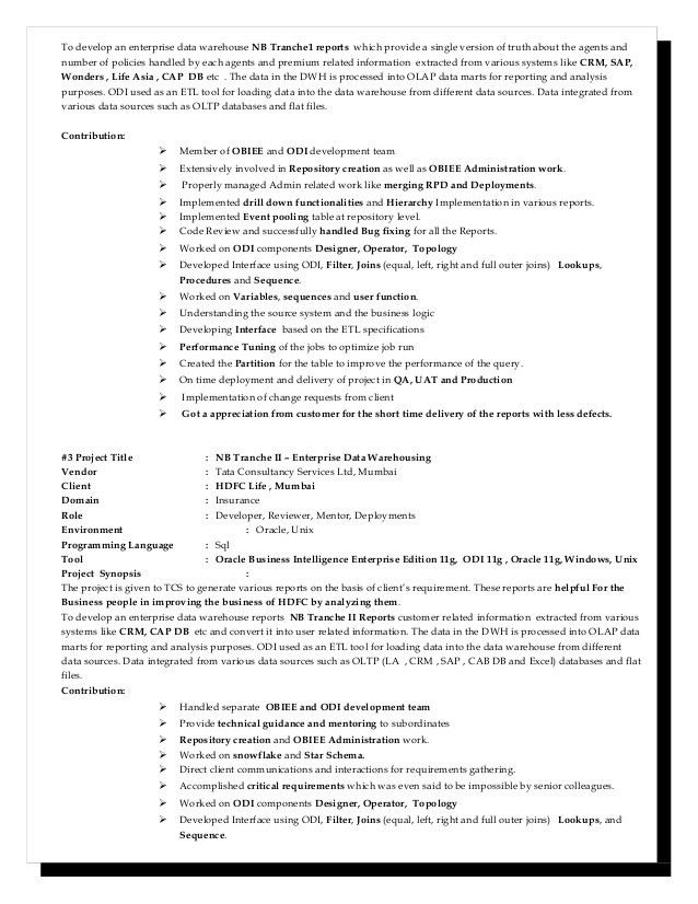 obiee sample resume informatica resume sample obiee resumes ...