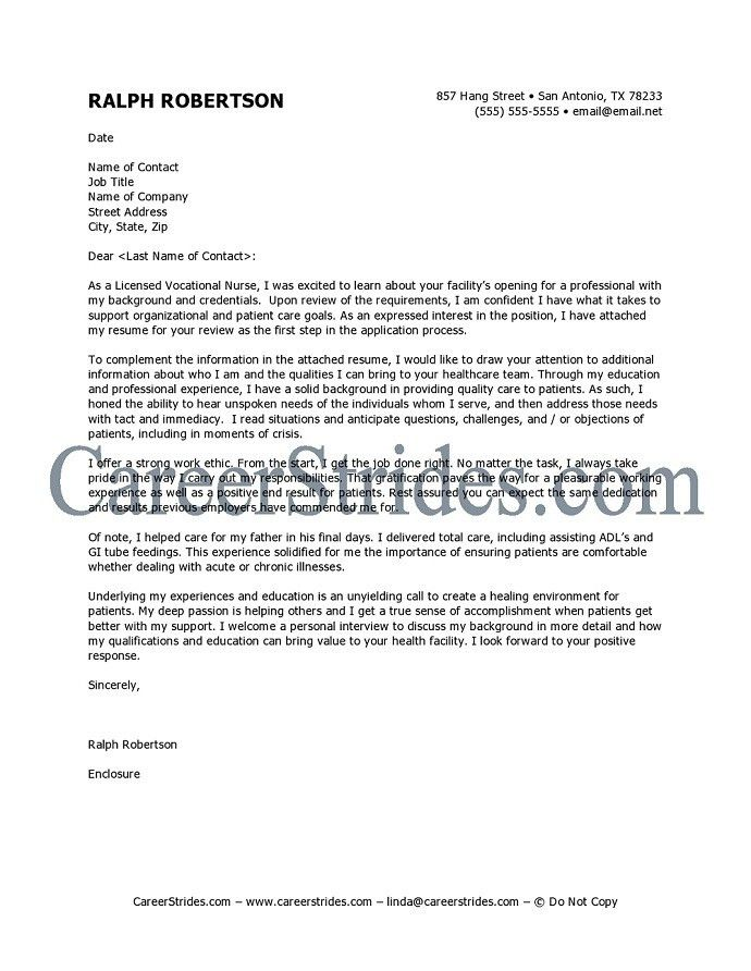 Sample Cover Letter For Registered Nurse Cover Letter Example ...