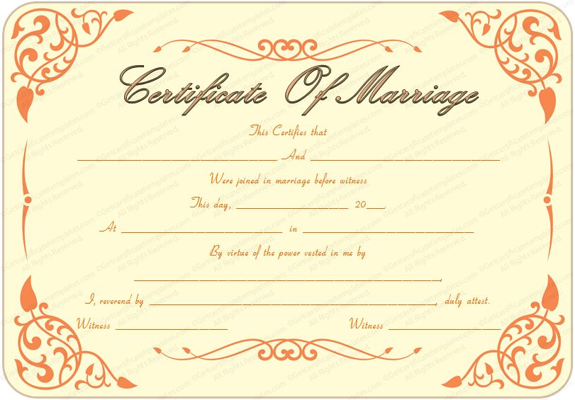13 Best Images of Blank Printable Marriage Certificate Template ...