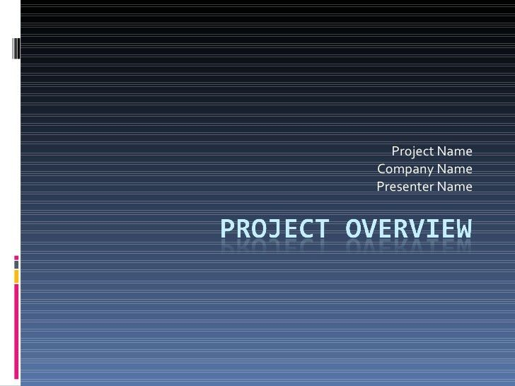 Template for Project Overview