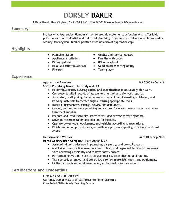 Cool Inspiration Plumber Resume 2 Unforgettable Apprentice Plumber ...