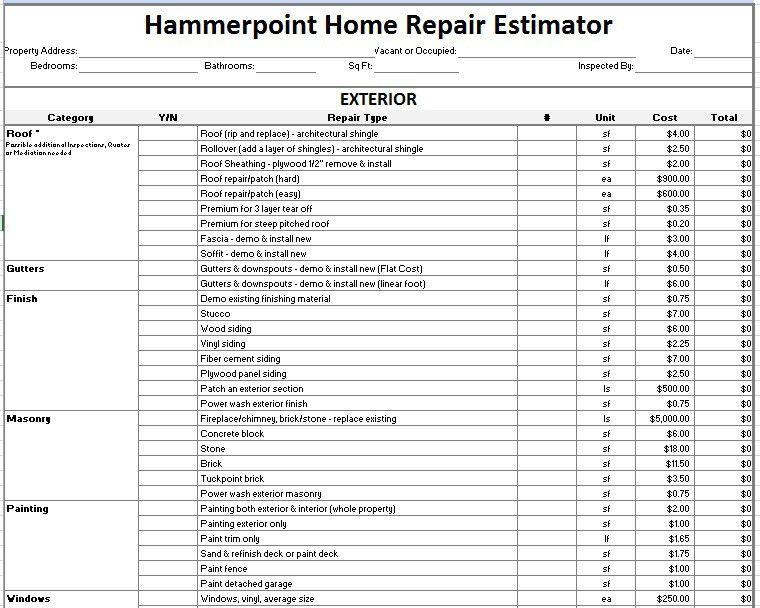 12 Free Sample Home Repair Estimate Templates – Printable Samples