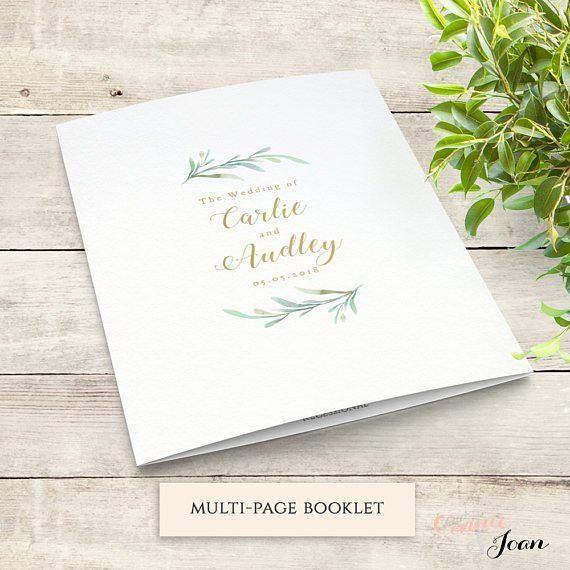 Greenery Booklet Wedding Program Template Order of Service
