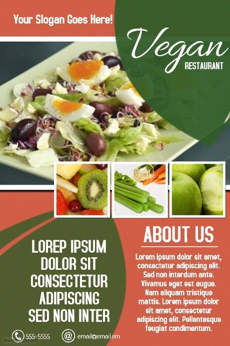 Vegan food restaurant poster flyer template | PosterMyWall