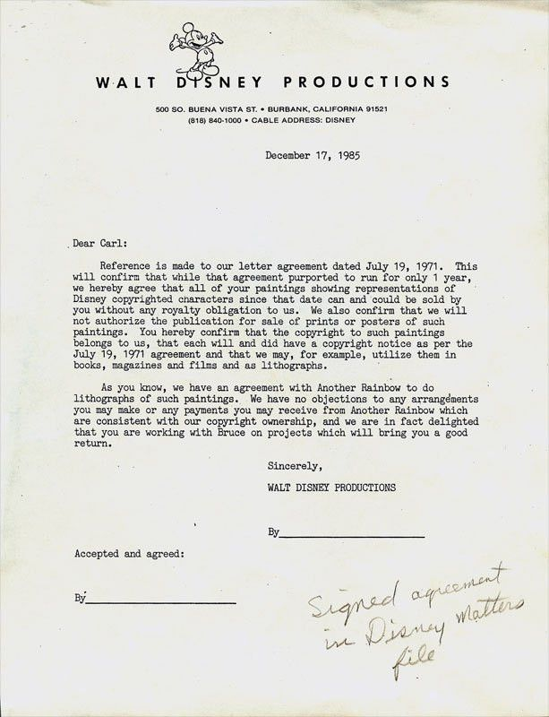 Carl Barks Art - Oil Painting Contract